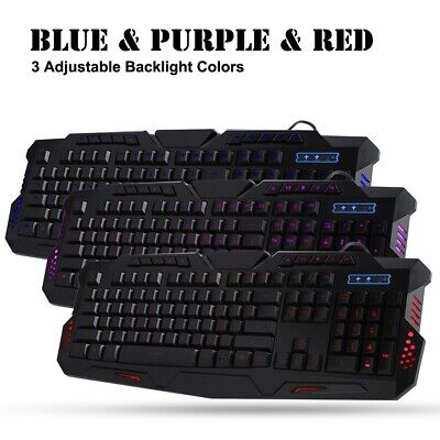 Gaming Keyboard and Mouse Set Kit USB 3Colorful for Computer PC Multimedia Gamer
