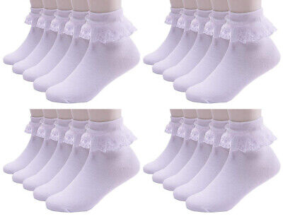 Extra Soft Cotton 1x 3x 6x Pack Girls Kids Socks School Frilly Lace Ankle Socks