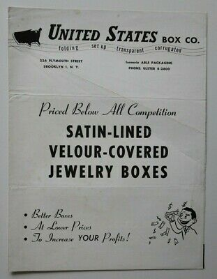 UNITED STATES Box Co Jewelry Boxes 1950s dealer brochure - English - USA