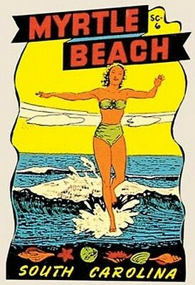 Myrtle Beach  SC   Pin-Up Girl     Vintage  1950's  Style  Travel Sticker Decal