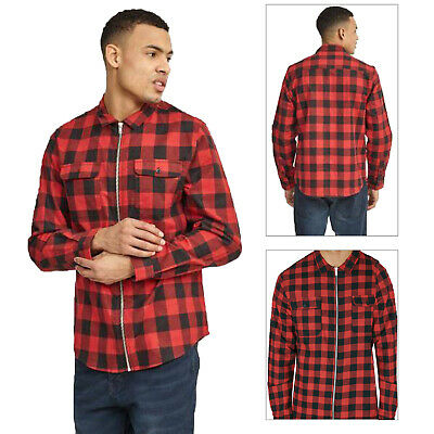 Brave Soul Mens Lumber Checked Zipped Jacket Soft Cotton Long Sleeved Shirt