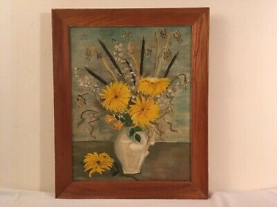 Vtg Retro Yellow Mums & Cattail Floral Still Life Oil Painting Oak Frame Signed