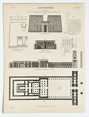 Architecture, Egyptian Temples, Ancient Buildings, 1890s Antique B & W Print