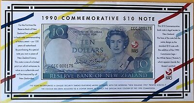 New Zealand 1990 Commemorative $10 Banknote. CCC Unc In Folder. 175/500