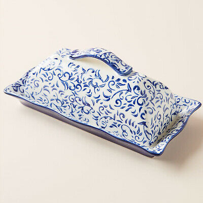 ANTHROPOLOGIE Attingham Butter Dish & Lid Blue White Stoneware New Sold Out