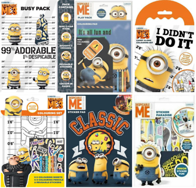 Despicable Me Minions Reusable Stickers Colour In Sheets Crayons Pencils & More