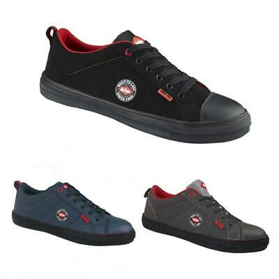 Lee Cooper Safety Mens SB SRA Steel Toe Retro Baseball Trainer Shoes +FREE Socks