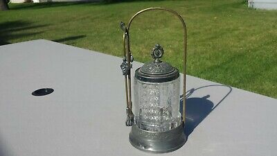 Vintage Antique Meriden Pickle Castor / Jar Set w/ Tongs Victorian