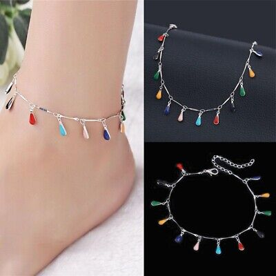 1PC Fashion Women Anklet Simple Water Droplets Ankle Bracelet Foot Jewelry Gifts