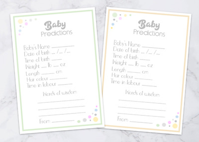 ✯ Baby Shower 10 cards ☆ Neutral ✯ Prediction Game /& Advice Cards