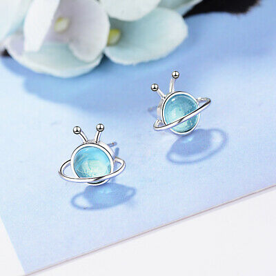 925 Sterling Silver Crystal Stud Earrings Blue Planet Style Women Girl's Jewelry