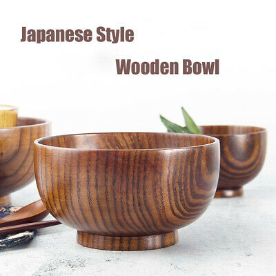 Wooden Bowl Soup/Salad Rice Bowls Natural Wood Tableware Adorable Japanese Style