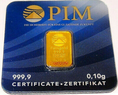 5 x 0.1g 999.9 fine Gold Bullion Bar. Solid pure gold for investment or gift.