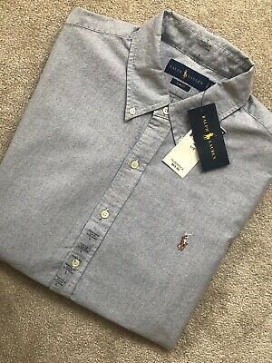 Ralph Lauren Polo Grey Cotton Slim Fit S/S Shirt Top Usa Model - Large New Tags