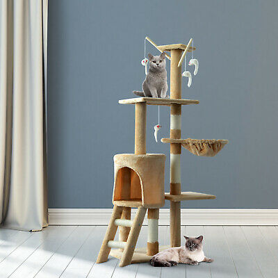 52' Multi-Level Cat Tree Kitty Activity Center Scratcher Tower Condo Beige