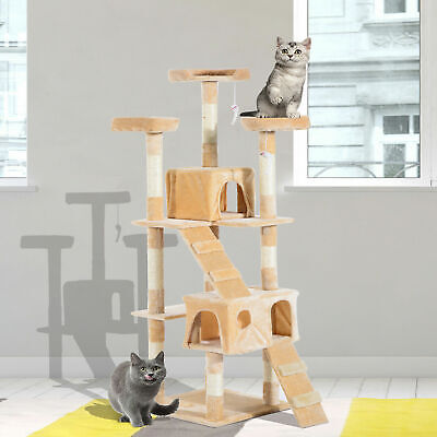Multi-Level Cat Tree Scratching Post Tower Condo Furniture Beige