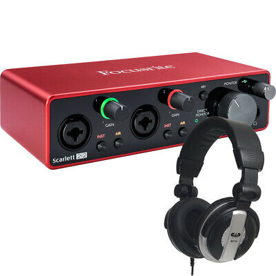 Focusrite Scarlett 2i2 3rd Gen Interface w/ Rane RH-1 Studio Headphones