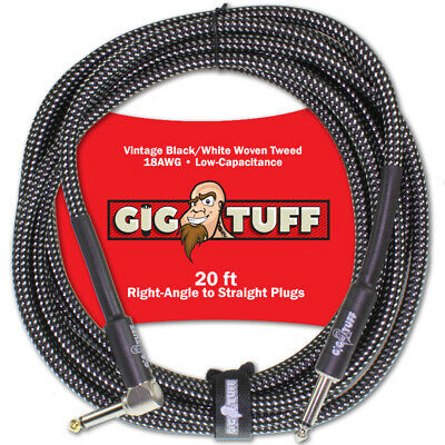 Gig Tuff Pro 20ft Right-Angle Guitar Bass Instrument Cord Woven Tweed 1/4 NEW