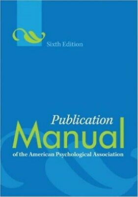 Publication Manual of the American Psychological Association 6th (Paperback) NEW