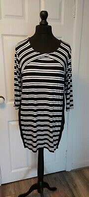 Wallis size L striped tunic dress in black and white