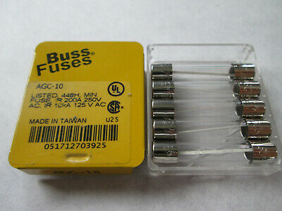 Box of 5 New Buss AGC-10 Miniature Glass Fuses