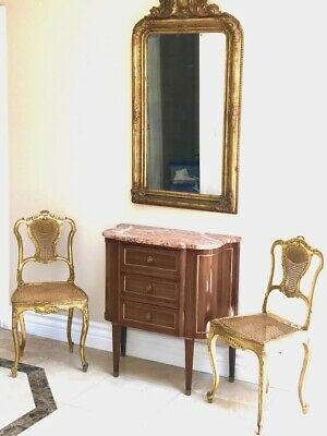 4-Pc. French Mirror, Chairs and Console Circa 1800