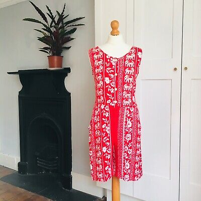 Vintage 90s Red White Hippy Batik Elephant Floral Stripe Summer Playsuit 10