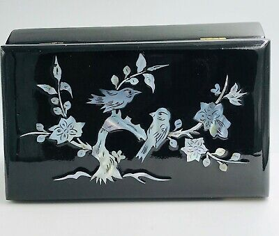 Chinese, Mother of Pearl Inlay Birds, Black Lacquer Box, 7-3/4 x 4-1/2""
