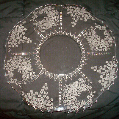 """Vintage New Martinsville Viking Meadow Wreath Etch #26 Radiance 14 ½"""" Plate Tray"""