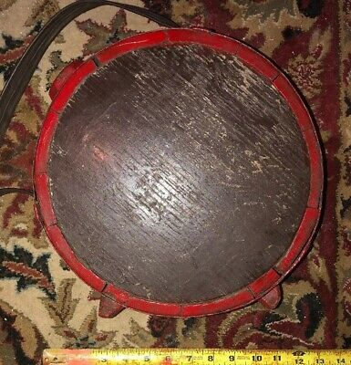 Antique Wood Large Canteen Leather Strap Red Paint Iron Bale