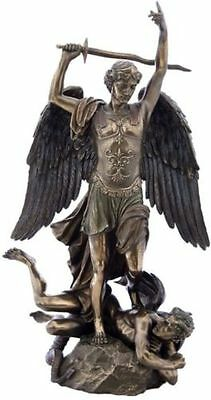 "15"" St. Archangel Michael Standing on Demon From Fontaine Saint-Michel Statue"