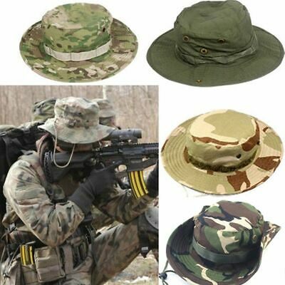 Tactical Boonie Hat Military Camo Bucket Wide Brim Sun Fishing Outdoor Cap