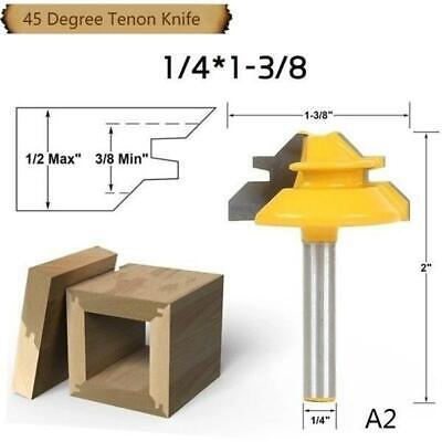 45Degree Lock Miter Router Bit 8mm Shank Trimmer Milling Joint Tenon Cutter Hot