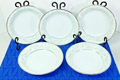 """Lot of 5 Noritake 5767 Oxford 7 1/2"""" Coupe Soup Bowls  Excellent Condition."""