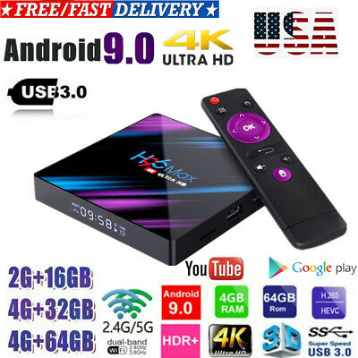 H96 MAX Smart TV BOX Android 9.0 OS 4G RAM 32/64GB Quad Core 1080p 4K LED H9Z8N