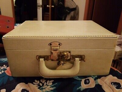 """Vintage SHORTRIP Leather Train Case Travel Bag Luggage Off White 13"""" x 9"""""""