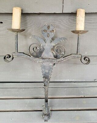 Gothic Light Fixture Antique Vtg Electric Wall Sconce Old Hardware Wrought Iron