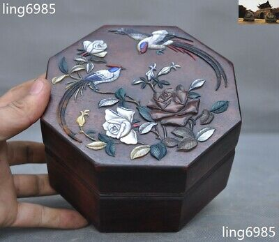 China Huanghuali wood inlay shell Shoushan Stone carved Magpie Plum Storage Box
