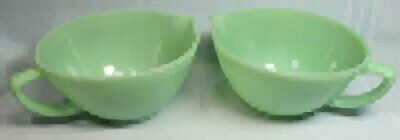 2 Vintage FIRE KING Jade-ite Green Batter / Mixing Bowls