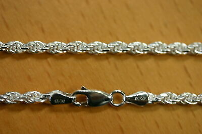 """18"""" 3.3mm Solid Sterling Silver Diamond Cut Rope Chain Necklace Made in Italy"""