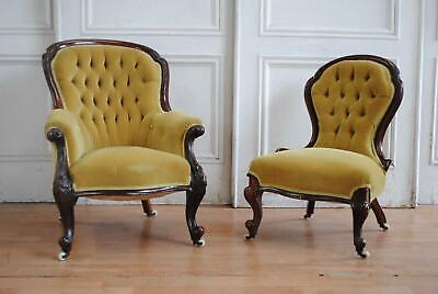 C19th Antique Victorian Walnut Button Ladies & Gents Chairs - Fireside Armchairs