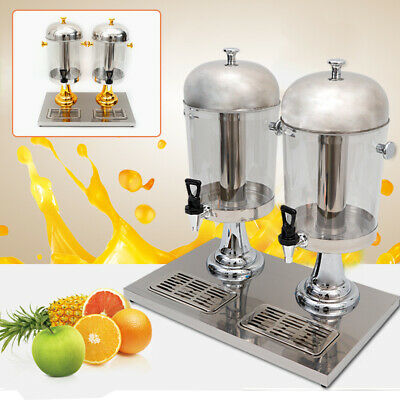 2 Tanks 16L Commercial 8L Restaurant Buffet Drink Beverage Juice Dispenser