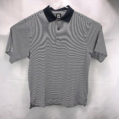 FOOTJOY FJ Mens Size M White/Blue Stripes ProDry Polo Shirt Polyester Blend EUC