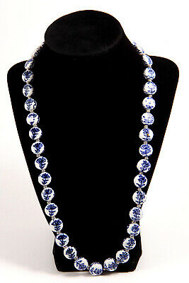 """Chinese Blue White Hand Painted Porcelain Bead Necklace 25"""" Indiv. Knotted"""