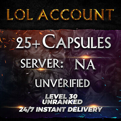 League of Legends Account LOL Smurf Acc 25 Capsules NA Level 30 Unranked