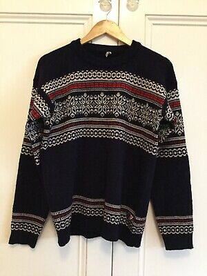 Vintage Men's Jumper Pullover Pure New Wool Navy Made In Italy Fit Size Small