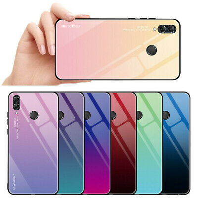 For Huawei P Smart 2019 Gradient Tempered Glass Case Hard TPU Bumper Cover