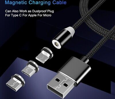 Braided Magnetic Lightning Micro USB Type-C Cable Charger Charging Samsung iphon