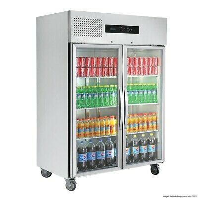 Thermaster Tropical Rated 2 Glass Door SS Fridge 1000L Food Displays
