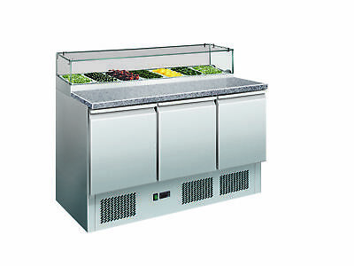 Thermaster 444L Three Door Salad Marble Prep Top with 7x1/3 GN Pans